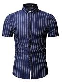 levne Pánské košile-Pánské - Proužky Košile, Tisk Vodní modrá XL