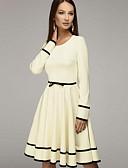 hesapli Print Dresses-Kadın's A Şekilli Elbise - Solid Diz-boyu
