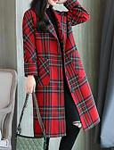 cheap Women's Coats & Trench Coats-Women's Daily Basic Long Coat, Houndstooth Shirt Collar Long Sleeve Polyester Green / Red L / XL / XXL