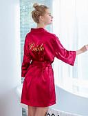 hesapli Takımlar-Kadın's Fiyonklar / Bağcık / Nakış Sexy Saten ve İpek Yatak kıyafeti Solid Beyaz Doğal Pembe Şarap L XL XXL / V Yaka