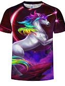 abordables Camisetas y Tops de Hombre-Hombre Tallas Grandes Estampado - Algodón Camiseta, Escote Redondo Arco iris / Animal Morado XXXXL