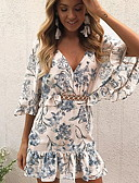 cheap Print Dresses-Women's Slim Shirt Sundress Ruffle Butterly Style Floral Style V Neck Spring Blue Blushing Pink M L XL