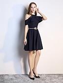 Χαμηλού Κόστους Φορέματα ειδικών περιστάσεων-Γραμμή Α Ώμοι Έξω Πάνω από το Γόνατο Σιφόν Φόρεμα Παρανύμφων με Ζώνη / Κορδέλα / Βολάν με LAN TING Express
