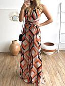 billige Jumpsuits og sparkebukser til damer-Dame Oransje Kjeledresser, Geometrisk M L XL