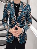 billige Herreblazere og jakkesæt-Herre Blazer Hakrevers Polyester Blå XXXL / XXXXL / XXXXXL