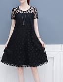 hesapli Romantik Dantel-Kadın's A Şekilli Elbise - Solid, Dantel Diz-boyu
