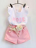levne Dětské bundičky a kabátky-Dítě Dívčí Základní Tisk Tisk Krátký rukáv Standardní Bavlna Sady oblečení Bílá / Toddler