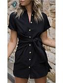 billige Kjoler med trykk-Dame Elegant A-linje Kjole - Ensfarget Mini