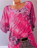 billiga Skjorta-Blommig Plusstorlekar T-shirt Dam Grön