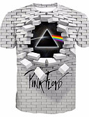cheap Men's Tees & Tank Tops-Men's T-shirt - Geometric / 3D / Letter Print Round Neck White XXXXL