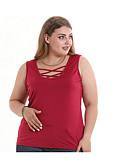 hesapli Tişört-Kadın's Tişört Solid Büyük Bedenler Siyah