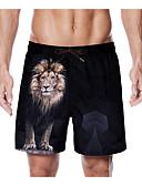 hesapli Gömlek-Erkek Temel Şortlar Pantolon - 3D Siyah L XL XXL