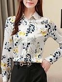 hesapli Gömlek-Kadın's Gömlek Yaka İnce - Gömlek Kırk Yama, Çiçekli YAKUT