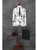 preiswerte Anzüge-Weißes Licht Mit Mustern Weite Passform Baumwolle / Polyester Anzug - Fallendes Revers Einreiher - 1 Knopf / Anzüge