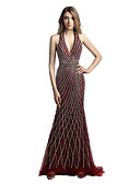 cheap Evening Dresses-Mermaid / Trumpet Halter Neck Court Train Tulle Dress with Beading / Sequin by JUDY&JULIA