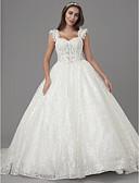 ราคาถูก ชุดแต่งงาน-เจ้าหญิง คอสี่เหลี่ยม ชายกระโปรงคอร์ท ลูกไม้ / Tulle ชุดแต่งงานที่ทำขึ้นเพื่อวัด กับ เข็มกลัด / ปักลายปัก โดย LAN TING BRIDE® / ซีทรู