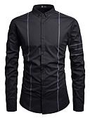 levne Pánské košile-Pánské - Proužky EU / US velikost Košile Bavlna Černá L
