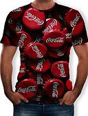 hesapli Erkek Tişörtleri ve Atletleri-Erkek Yuvarlak Yaka Tişört Desen, 3D YAKUT
