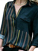 hesapli Gömlek-Kadın's Gömlek Yaka Gömlek Zıt Renkli Büyük Bedenler YAKUT