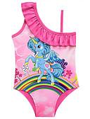 זול בגדי ים לבנות-בגדי ים ללא שרוולים דפוס Unicorn פעיל / סגנון חמוד בנות ילדים / פעוטות