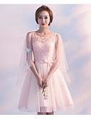 Χαμηλού Κόστους Φορέματα ειδικών περιστάσεων-Γραμμή Α Με Κόσμημα Μέχρι το γόνατο Τούλι Φόρεμα Παρανύμφων με Ζώνη / Κορδέλα / Πλισέ με LAN TING Express