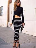 povoljno Ženske haljine-Žene Bodycon Suknje - Prugasti uzorak Crn M L XL