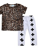 billige Sett med babyklær-Baby Jente Aktiv / Grunnleggende Trykt mønster / Leopard Kryss / Trykt mønster Kortermet Normal Normal Bomull / Polyester Tøysett Brun