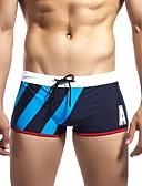 cheap Men's Swimwear-Men's Sporty Basic Black Navy Blue Swim Trunk Bottoms Swimwear - Color Block Lace up L XL XXL Black