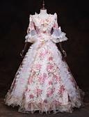 Χαμηλού Κόστους Λουλουδάτα φορέματα για κορίτσια-Παραμυθιού Αναγέννησης Στολές Γυναικεία Φορέματα Σύνολα Κοστούμι πάρτι Χορός μεταμφιεσμένων Λευκό Πεπαλαιωμένο Cosplay 3/4 Μήκος Μανικιού Μπαλούν