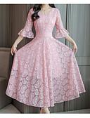 זול תחרה רומטנית-צווארון V מקסי שמלה סווינג בגדי ריקוד נשים