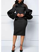 abordables Robes Imprimées-Femme Mi-long Mince Gaine Robe Couleur Pleine Col Ras du Cou Bleu Noir Violet XXXL XXXXL XXXXXL Manches Longues