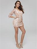 preiswerte Abendkleider-Eng anliegend V-Ausschnitt Kurz / Mini Tüll / Pailletten Cocktailparty Kleid mit Paillette durch TS Couture®