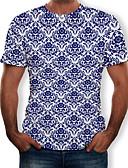preiswerte Herren T-Shirts & Tank Tops-Herrn Blumen / Einfarbig / 3D T-shirt, Rundhalsausschnitt Druck Weiß