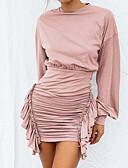 hesapli Print Dresses-Kadın's Temel sofistike Kılıf Elbise - Solid Diz üstü Gül kurusu
