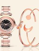 halpa Kvartsikellot-Naisten Quartz Vintage Muoti Ruusukulta Ruostumaton teräs Kiina Quartz Valkoinen Musta Punastuvan vaaleanpunainen Vedenkestävä Uusi malli Arkikello 30 m 3 osainen Analoginen Yksi vuosi Akun käyttöikä