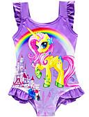זול סטים של ביגוד לבנות-בגדי ים ללא שרוולים דפוס Unicorn פעיל / סגנון חמוד בנות ילדים / פעוטות