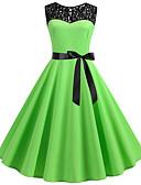 hesapli Vintage Kraliçesi-Kadın's Temel A Şekilli Elbise - Zıt Renkli Diz üstü