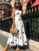 levne Print Dresses-Dámské Základní Pouzdro Swing Šaty - Puntíky Maxi
