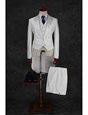povoljno Odijela-Milk White Jednobojni / Prugasti uzorak Standardni kroj Pamuk / Poliester Odijelo - Šiljasti Droit à plusieurs boutons / odijela