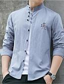abordables Camisas de Hombre-Hombre Algodón Camisa, Cuello Mao Delgado Un Color Negro XXL