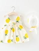 abordables Jupes pour Bébés-bébé Fille Actif / Basique Fruit Noeud / Plissé Sans Manches Au dessus du genou Coton Robe Blanc / Bébé