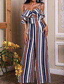 billige Jumpsuits og sparkebukser til damer-Dame Blå Kjeledresser, Stripet M L XL