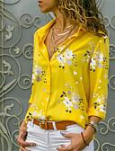 hesapli Tişört-Kadın's Pamuklu Gömlek Yaka Gömlek Desen, Çiçekli Sokak Şıklığı Açık Mavi / Bahar