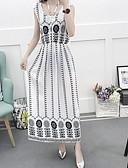abordables Vestidos Maxi-Mujer Elegante Línea A Vestido - Estampado, Geométrico Maxi