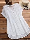 Χαμηλού Κόστους T-shirt-Γυναικεία Μεγάλα Μεγέθη Πουκάμισο Μονόχρωμο Λαιμόκοψη V Φαρδιά Ανθισμένο Ροζ XXXL