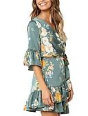 זול שמלות מיני-מעל הברך דפוס, גיאומטרי - שמלה סקייטר\מחליקה על הקרח בסיסי אלגנטית בגדי ריקוד נשים