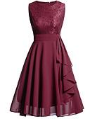 preiswerte Kleider für besondere Anlässe-A-Linie V-Ausschnitt Knie-Länge Chiffon / Spitze Kleid mit Kaskaden Rüschen / Spitzeneinsatz durch LAN TING Express