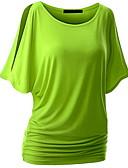 baratos Camisetas Femininas-Mulheres Tamanhos Grandes Camiseta Sólido Algodão Delgado