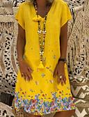 abordables Vestidos de Mujer-Mujer Tallas Grandes Básico Algodón Corte Ancho Recto Vestido - Estampado, Geométrico Sobre la rodilla Escote en Pico