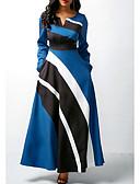 رخيصةأون فساتين قياس كبير-فستان نسائي A line أنيق طويل للأرض ألوان متناوبة